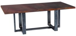 Milo Rectangle Dining Table with Rectangle Dark Brown Hammered Copper Top
