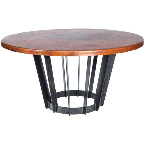 """Dexter Dining Table with 48"""" Round Natural Hammered Copper Top"""