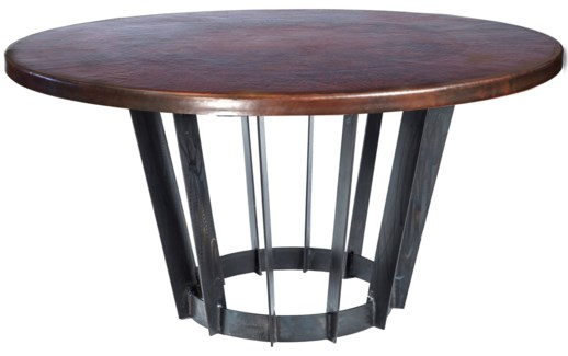 """Dexter Dining Table with 48"""" Round Dark Brown Hammered Copper Top"""