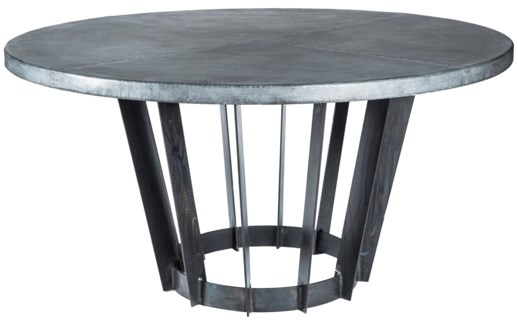 "Dexter Dining Table with 48"" Round Dark Brown Hammered Zinc Top"
