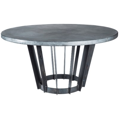 """Dexter Dining Table with 48"""" Round Dark Brown Hammered Zinc Top"""
