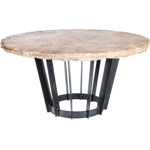 "Dexter Dining Table with 48"" Round Live Edge Marble Top"