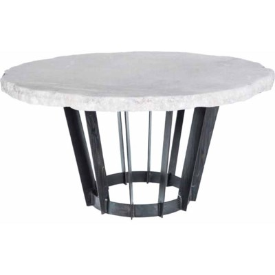 """Dexter Dining Table with 48"""" Round Live Edge Marble Top"""