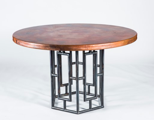 """Hudson Dining Table with 48"""" Round Natural Hammered Copper Top"""