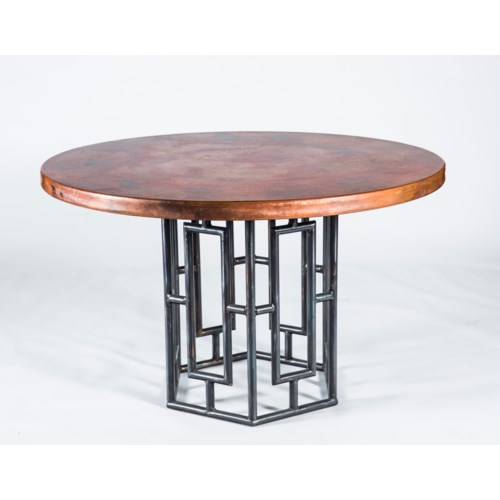 "Hudson Dining Table with 48"" Round Natural Hammered Copper Top"