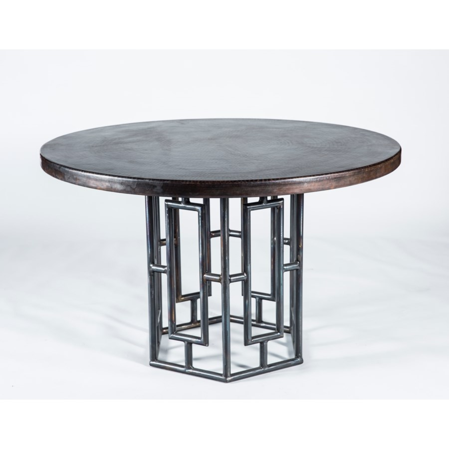 """Hudson Dining Table with 48"""" Round Dark Brown Hammered Copper Top"""
