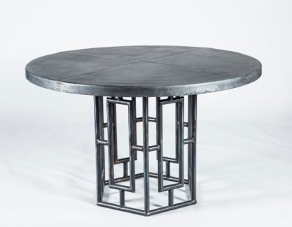 "Hudson Dining Table with 48"" Round Dark Brown Hammered Zinc Top"