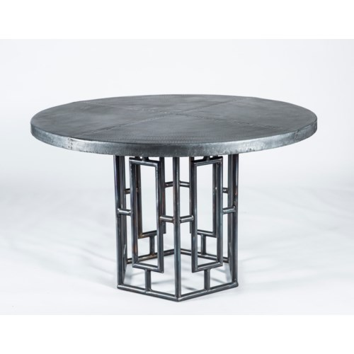 """Hudson Dining Table with 48"""" Round Dark Brown Hammered Zinc Top"""