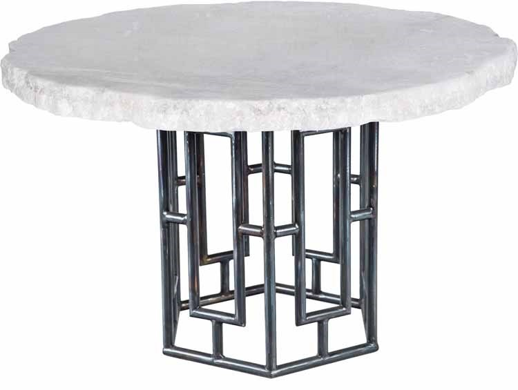 """Hudson Dining Table with 48"""" Round Live Edge Marble Top"""