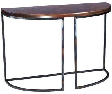 Lincoln Demi Lune Table with Dark Brown Hammered Copper Top