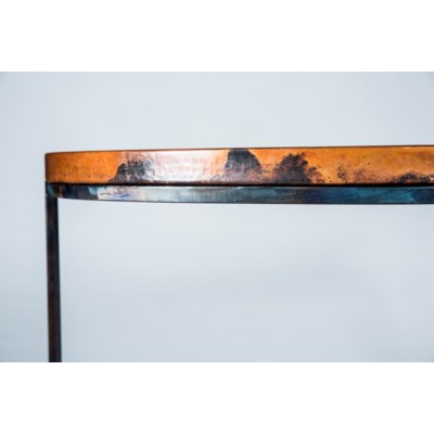 Lincoln Demi Lune Table with Natural Hammered Copper Top