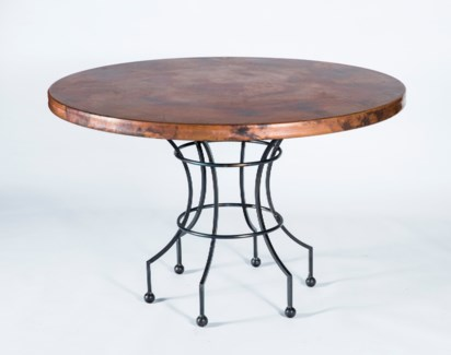 "Dominic Dining Table with 48"" Natural Hammered Copper Top"