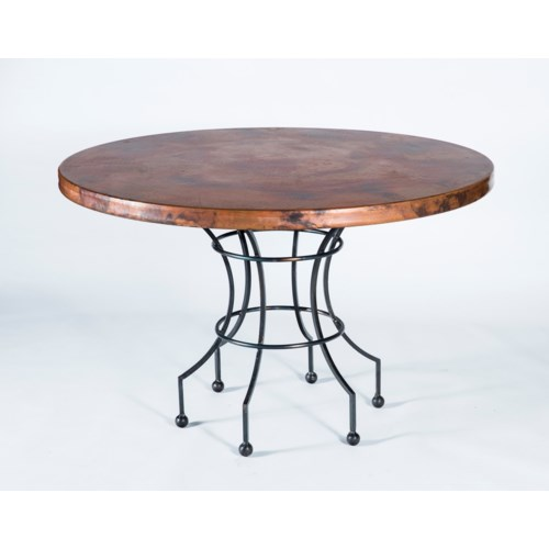 """Dominic Dining Table with 48"""" Natural Hammered Copper Top"""