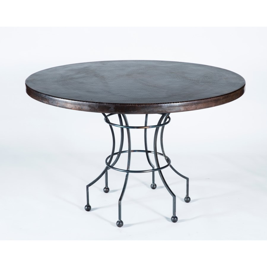 """Dominic Dining Table with 48"""" Dark Brown Hammered Copper Top"""