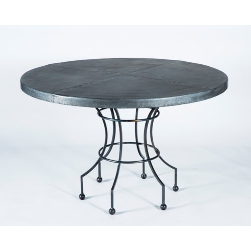 """Dominic Dining Table with 48"""" Hammered Zinc Top"""