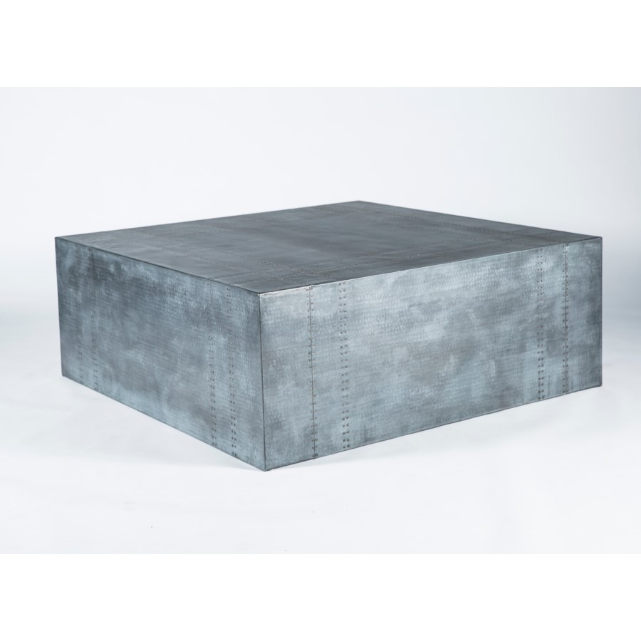 Gavin Hammered Zinc Cocktail Table with Nail Head Pattern