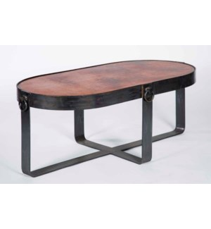 Palmer Oval Cocktail Table with Natural Hammered Copper Top