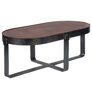 Palmer Oval Cocktail Table with Dark Brown Hammered Copper Top