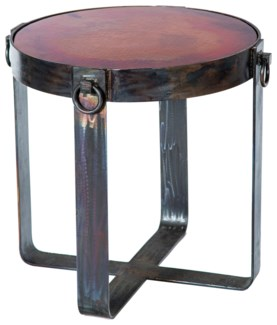 Palmer Side Table Base with Natural Hammered Copper Top