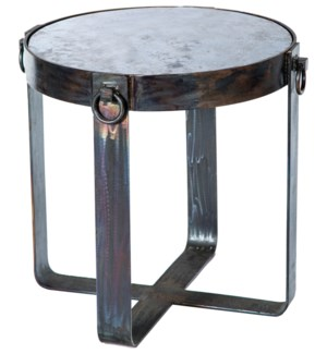Palmer Side Table Base with Acid Washed Hammered Zinc Top