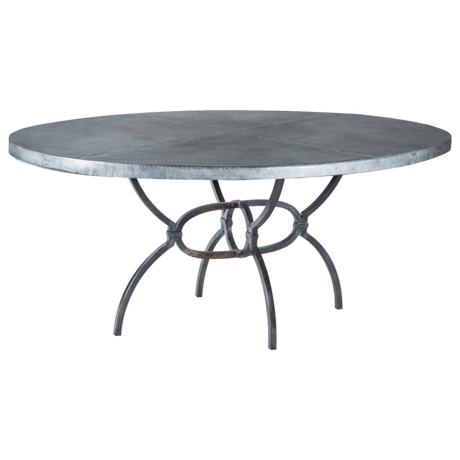 """Logan Dining Table with 72"""" x 44"""" Acid Washed Oval Hammered Zinc Top"""