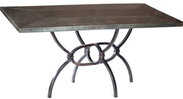 "Logan Dining Table with 84"" x 44"" Acid Washed Rectangle Hammered Zinc Top"