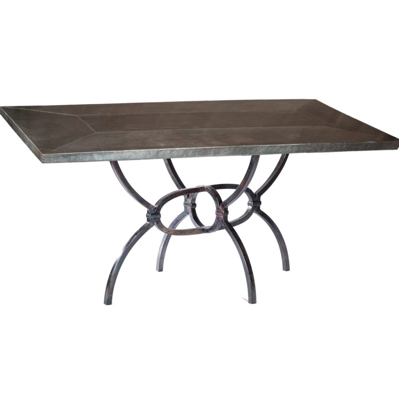 """Logan Dining Table with 72"""" x 44"""" Acid Washed Rectangle Hammered Zinc Top"""