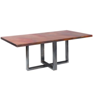 "Liam Dining Table with 84"" x 44"" with Natural Rectangle Hammered Copper Top"