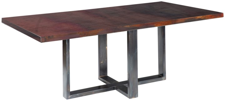 "Liam Dining Table with 84"" x 44"" with Dark Brown Rectangle Hammered Copper Top"