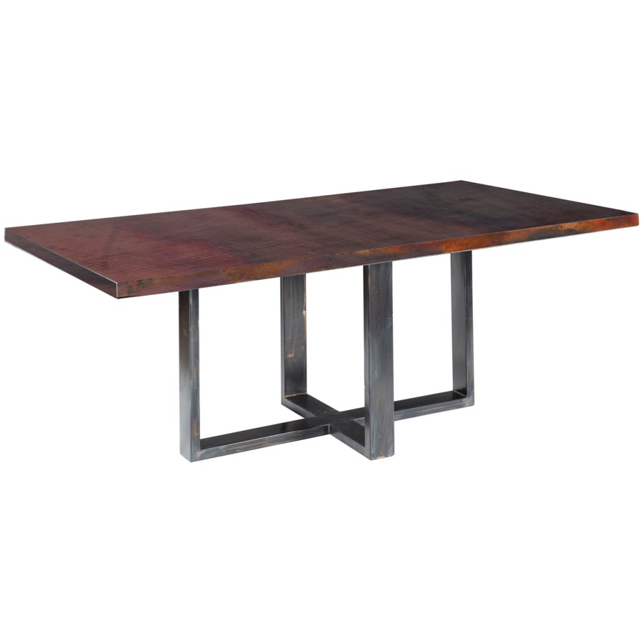 """Liam Dining Table with 84"""" x 44"""" with Dark Brown Rectangle Hammered Copper Top"""