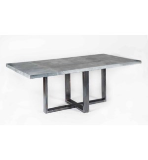 "Liam Dining Table with 84"" x 44"" Acid Washed Rectangle Hammered Zinc Top"