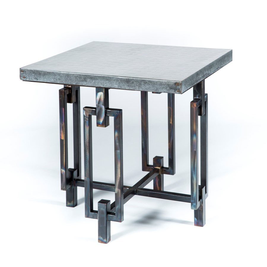 Elliot Side Table with Acid Washed Hammered Zinc Top