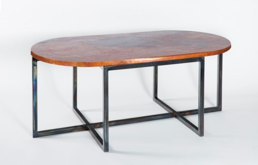Foster Oval Cocktail Table with Natural Oval Hammered Copper Top