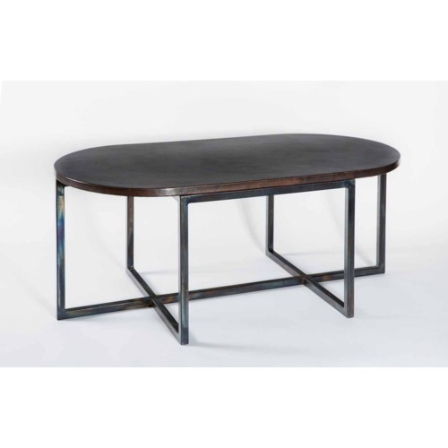 Foster Oval Cocktail Table with Dark Brown Oval Hammered Copper Top