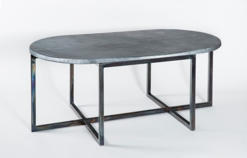 Foster Oval Cocktail Table with Acid Washed Oval Hammered Zinc Top