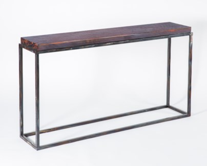 Brandon Console Table with Dark Brown Hammered Copper Top