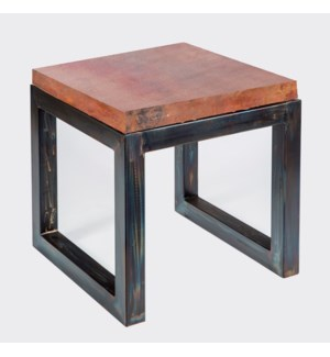 Chester Side Table with Natural Hammered Copper Top