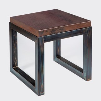 Chester Side Table with Dark Brown Hammered Copper Top