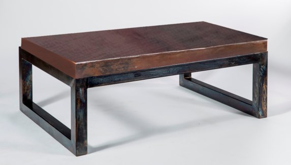 Chester Cocktail Table with Dark Brown Hammered Copper Top