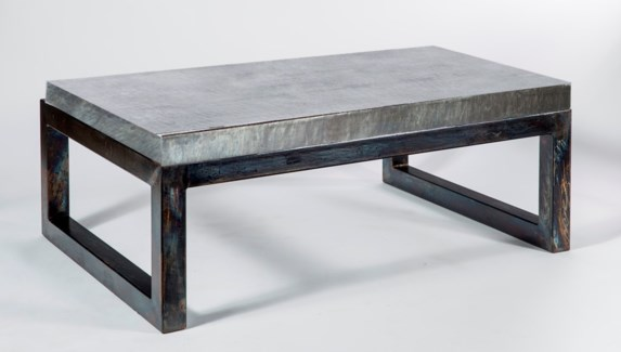 Chester Cocktail Table with Acid Washed Hammered Zinc Top