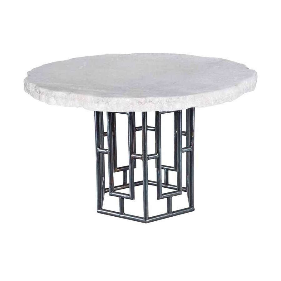 """Hudson Dining Table with 60"""" Round Live Edge Marble Top"""