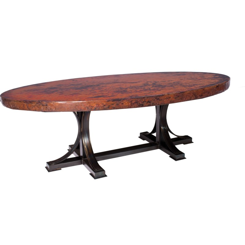 """Winston Dining Table with 96"""" x 44"""" Oval Hammered Copper Top"""