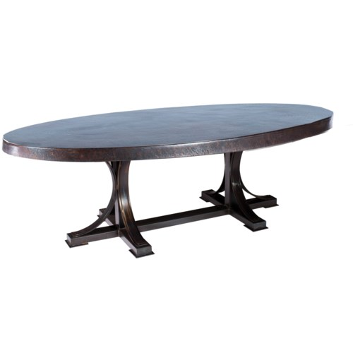 "Winston Rectangle Dining Table with 96"" x 44"" Oval Dark Brown Hammered Copper Top"