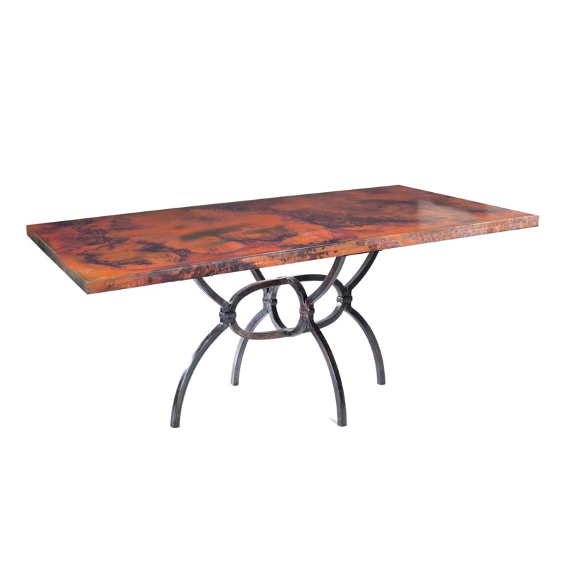 """Logan Dining Table with 84"""" x 44"""" Natural Rectangle Hammered Copper Top"""