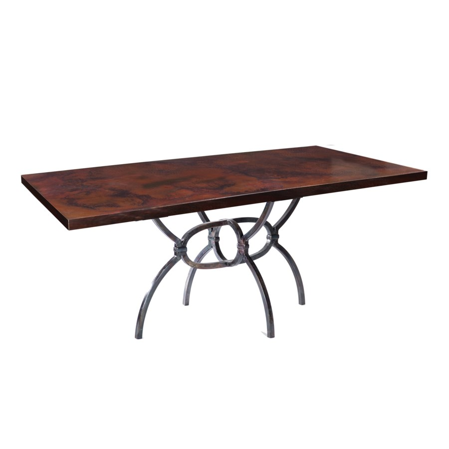 """Logan Dining Table with 84"""" x 44"""" Dark Brown Rectangle Hammered Copper Top"""