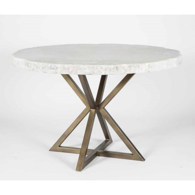 """Luke Dining Table in Antique Gold with 54"""" Round Live Edge Marble Top"""