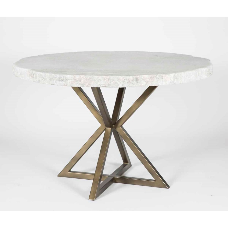 "Luke Dining Table in Antique Gold with 54"" Round Live Edge Marble Top"