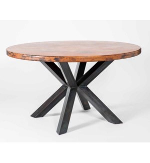"Jordan Dining Table with 60"" Round Natural Hammered Copper Top"