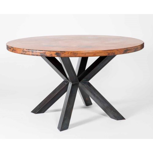 """Jordan Dining Table with 60"""" Round Natural Hammered Copper Top"""