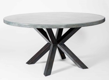 """Jordan Dining Table with 60"""" Round Acid Washed Zinc Top"""